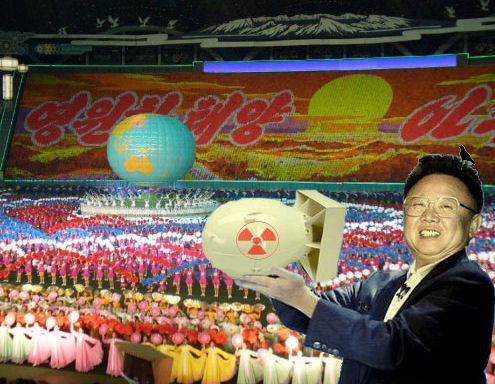 Kim Jong il demonstrates the threatened nuclear explosion via mass gymnastics